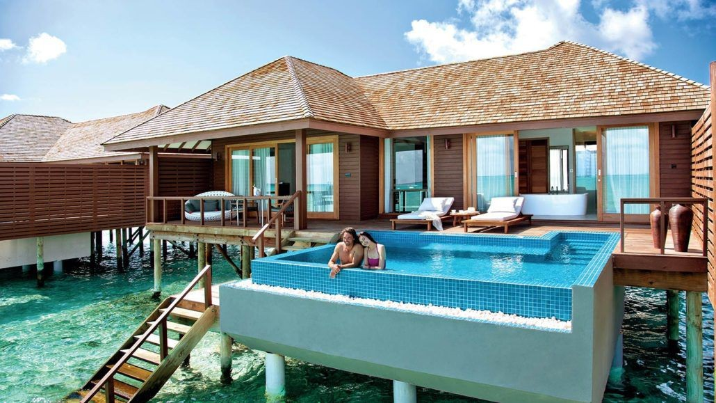 Hideaway Beach Resort private pool over water bungalow